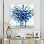 Abstract Blue Flower Bouquet in Vase Wall Art Painting on Canvas for Room Decor