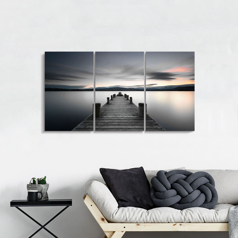 Wooden Dock Picture Wall Artwork Painting on Canvas for Living Room