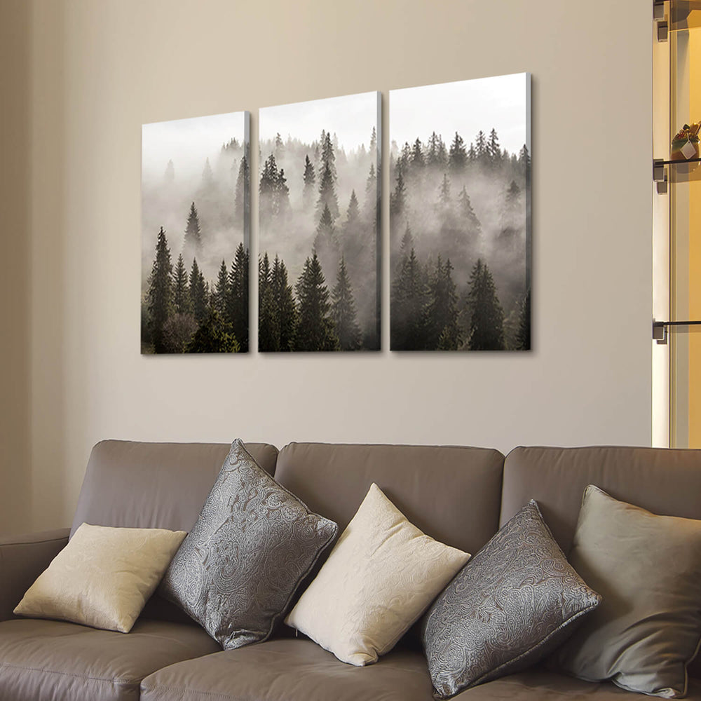 Misty Forest Picture Artwork Painting on Wrapped Canvas for Home Decor