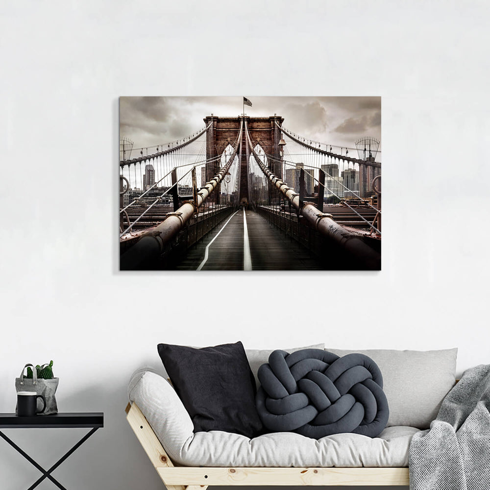 New York Scene Graphic Wall Art Painting on Canvas for Living Room