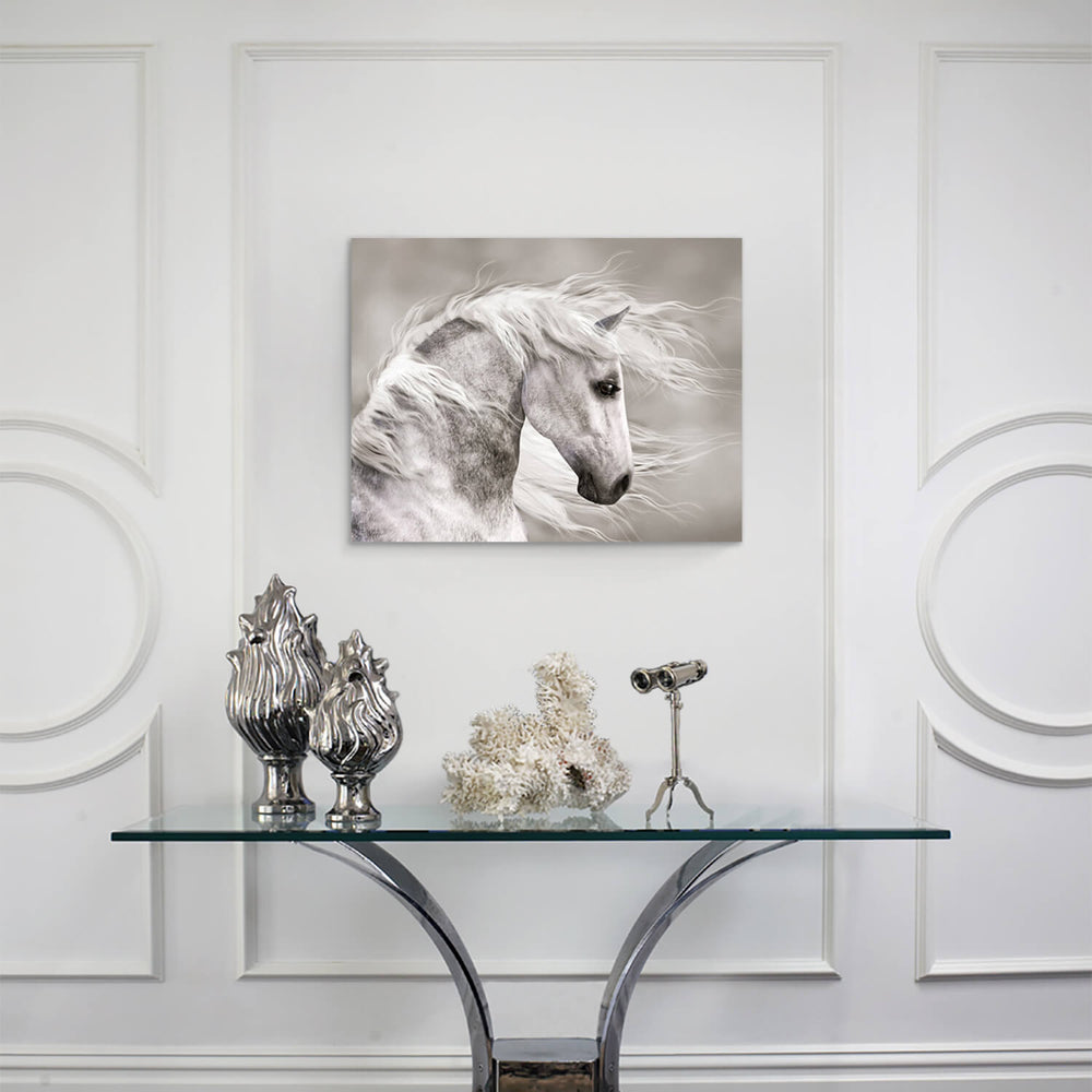 Wild White Horse Head Graphic Art Painting on Canvas for Living Room
