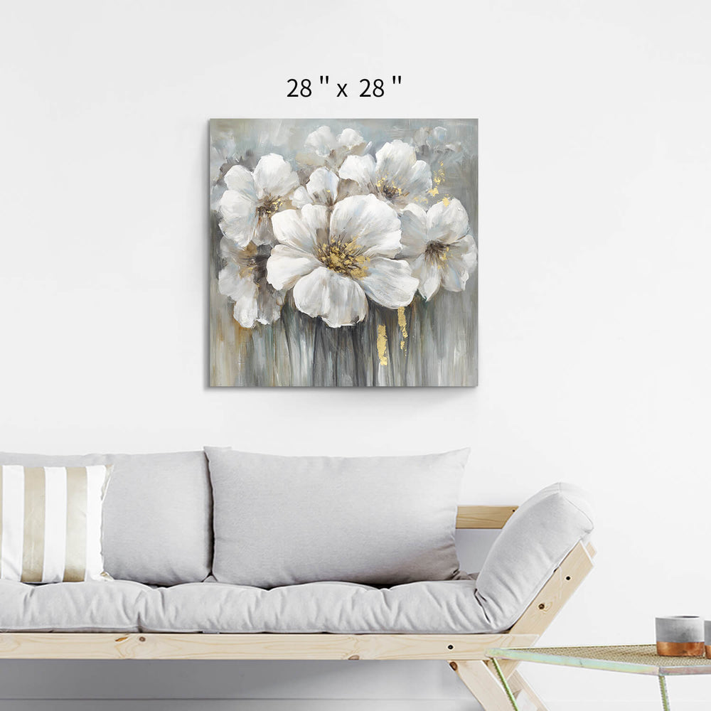 Abstract White Flower Wall Art Painting Picture on Canvas for Rooms Decor