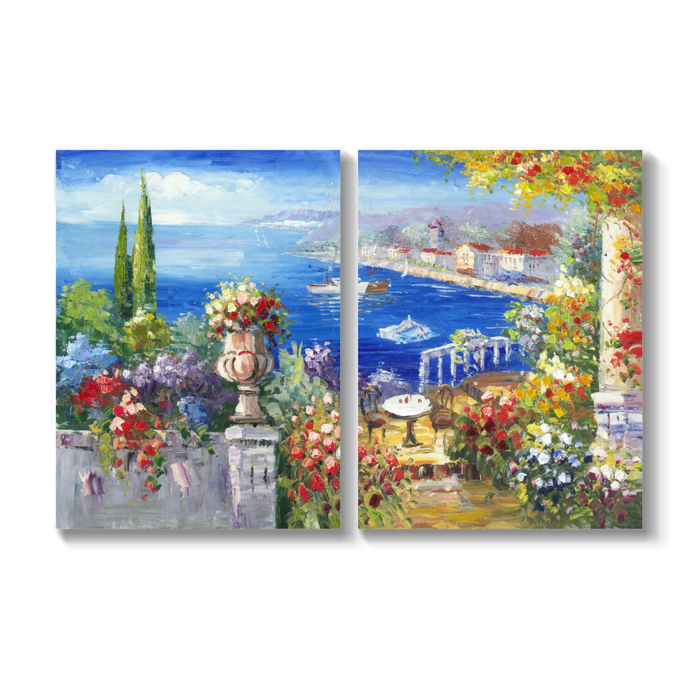 Abstract Seaside Garden Picture Artwork Hand Painted Painting on Canvas for Wall Art