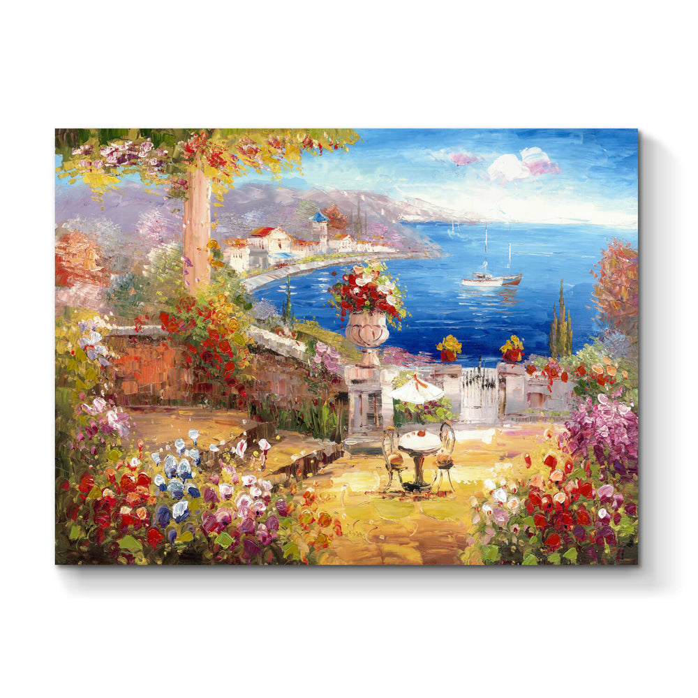 Abstract Seaside Garden Hand Painted Painting Picture on Canvas for Rooms Decor