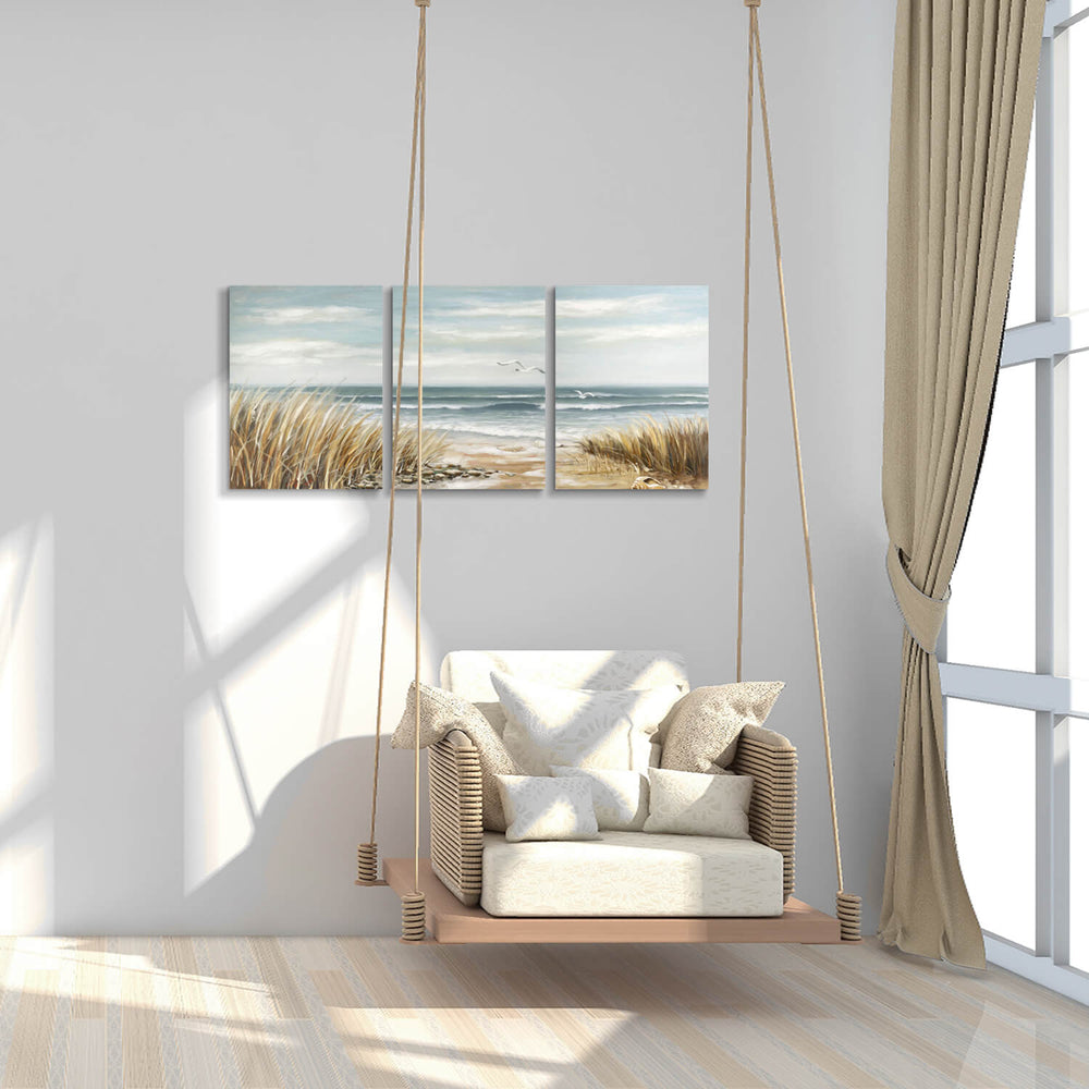 Coastal Beach Grass in Sunset Graphic Art Painting on Canvas for Bedroom