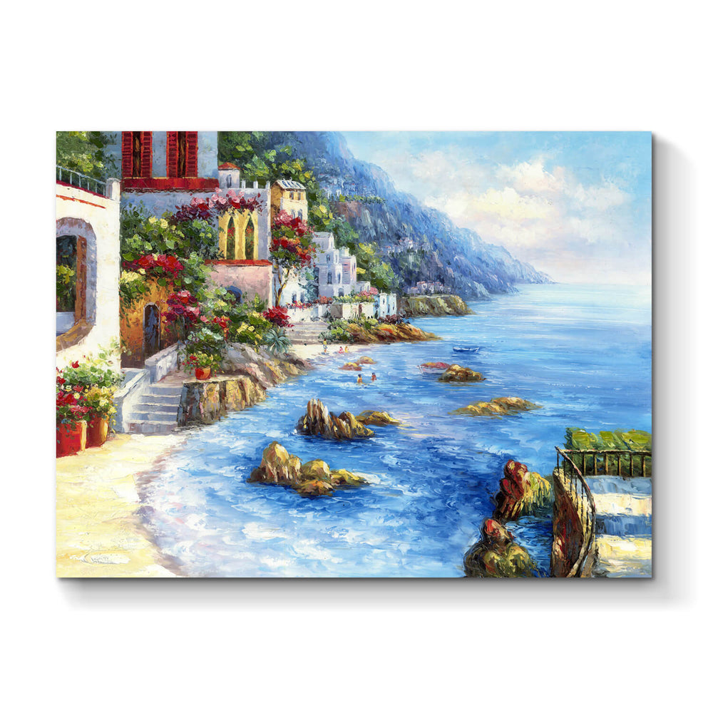 Italian Coastal Artwork Hand Painted Picture Painting on Canvas for Rooms Decor