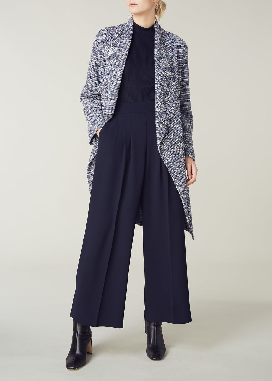 Ultimate Wide Leg Trouser in Navy in Draping Crepe feel  fabric