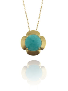 18k yellow gold Daisy pendant with Amazonite