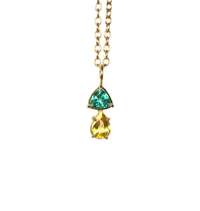 Pendant yellow gold with apatite and yellow sapphire
