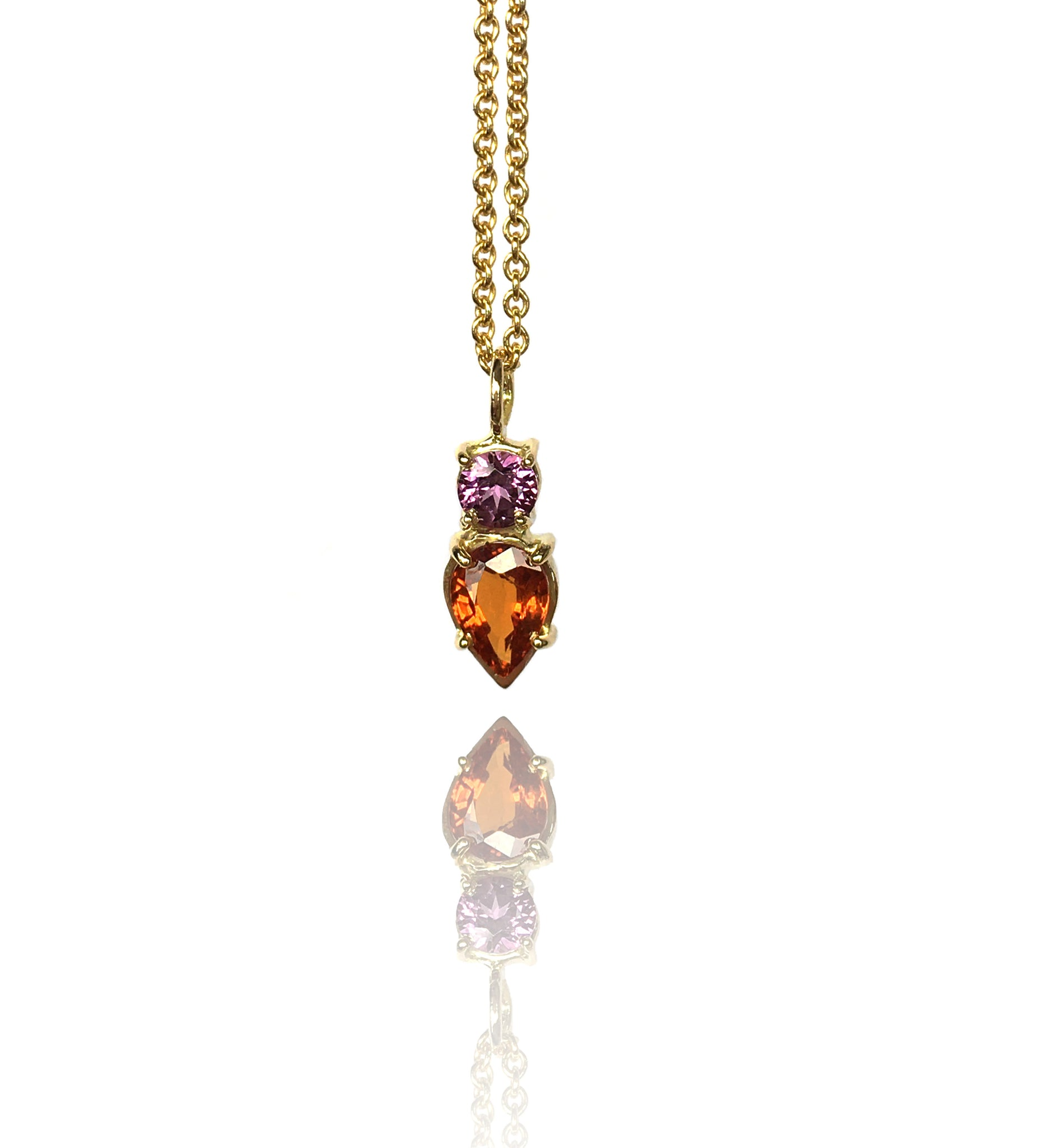 Pendant yellow gold with garnet and orange sapphire