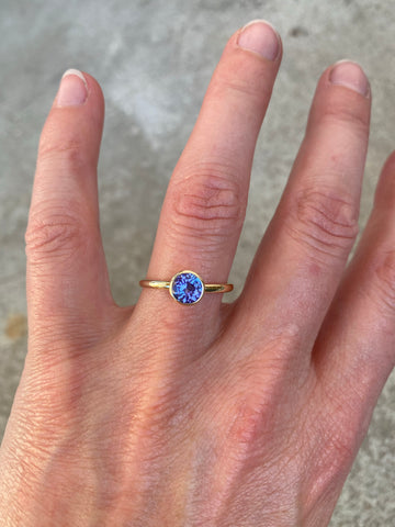 14k yellow gold ring set with a Tanzanite