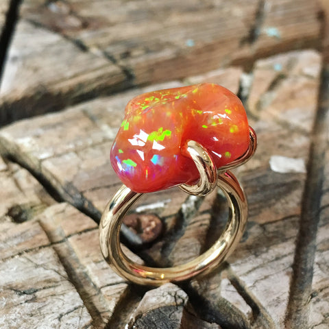Fire Opal solitaire ring