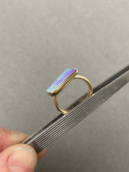14k yellow gold ring set with an Australian opal