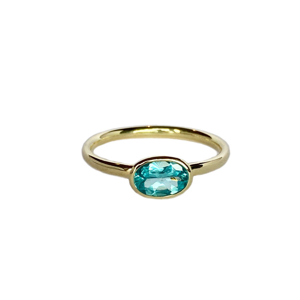 14k yellow gold ring set with an Apatite