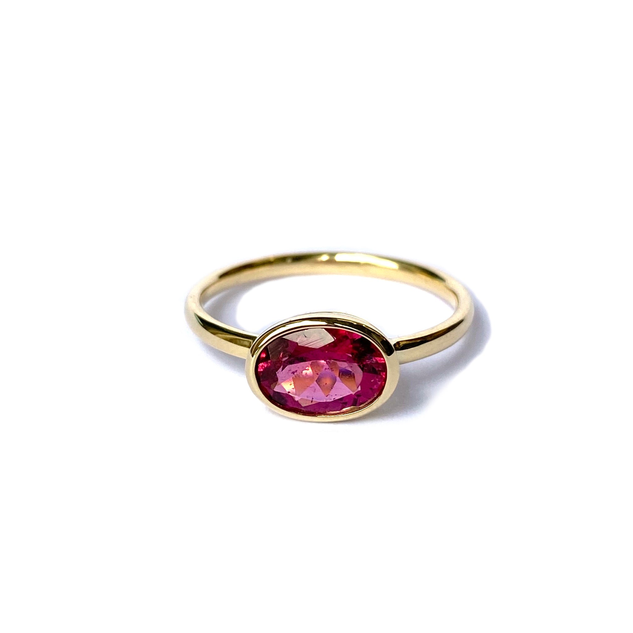 14k yellow gold ring set with a Pink Tourmaline
