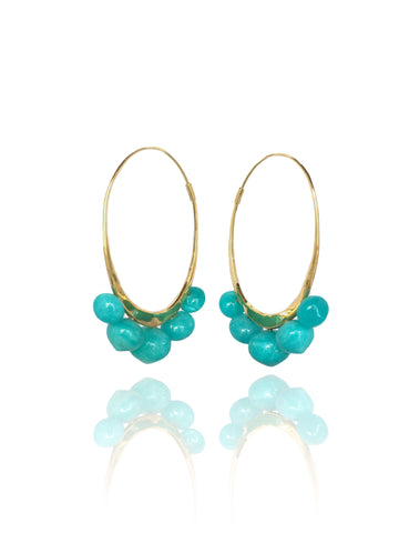 18k yellow gold hoops amazonite