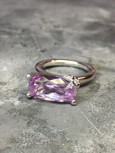 Star Solitaire ring whitegold kunzite