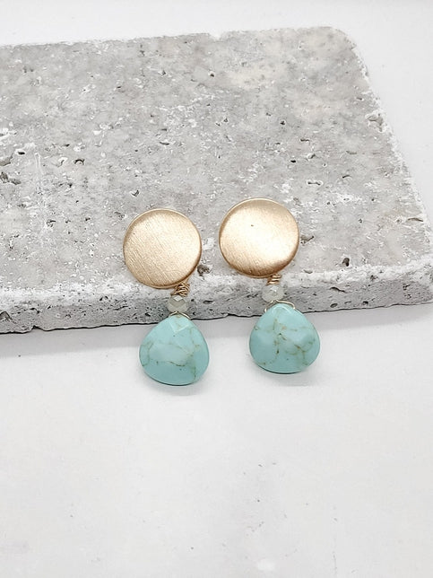 ROUND DISC & STONE EARRINGS