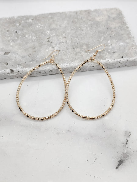 Mini Metal Beads Tear Drop Earrings