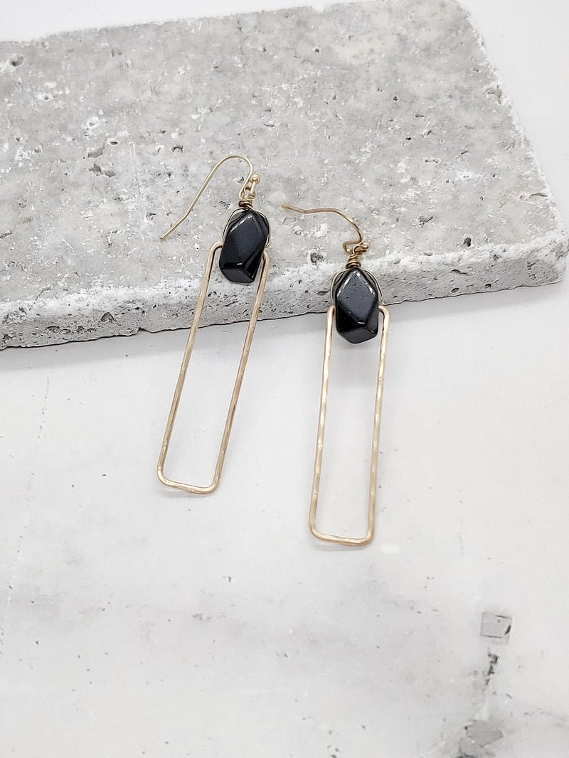 STONE IN RECTANGLE EARRINGS