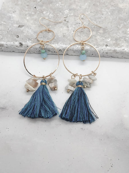 TASSEL AND BEADS DANGLE HOOP EARRINGS