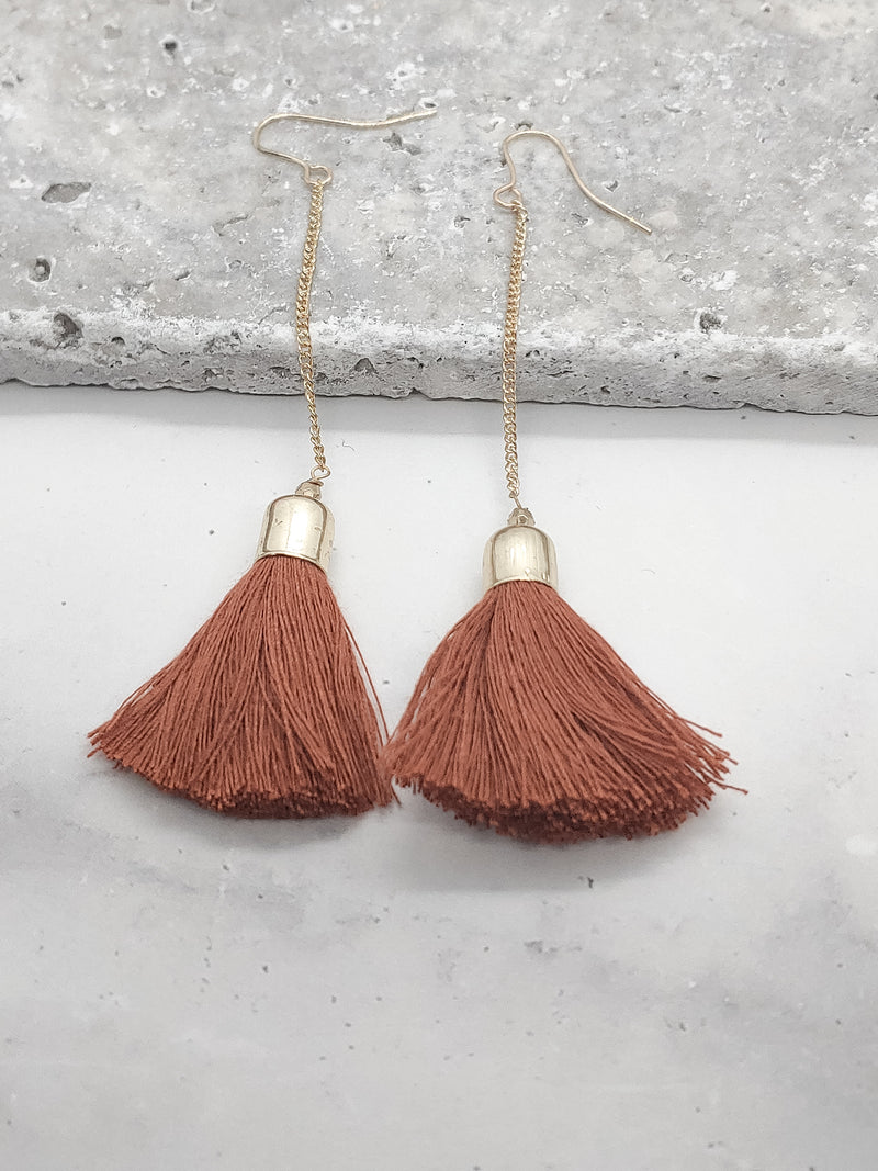 CHAIN AND TASSEL EARRINGS