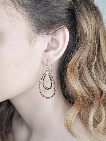 RING AND TEARDROP STONE EARRINGS