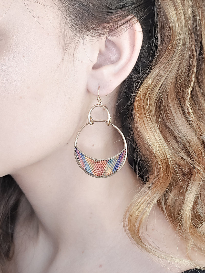 MULTI COLOR THREADED EARRINGS