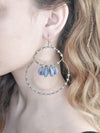 BLUE SHELL AND BEAD HOOP EARRINGS