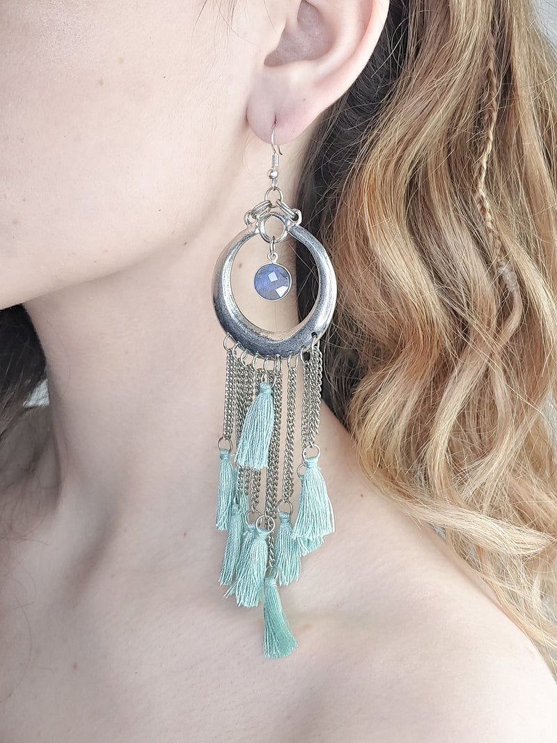 TASSEL AND CHAINS STATEMENT EARRINGS
