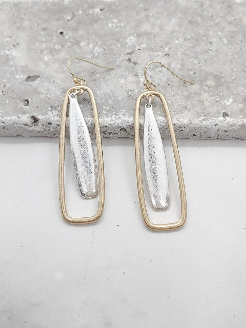 Multi Metal Plate in Rectangle Earrings