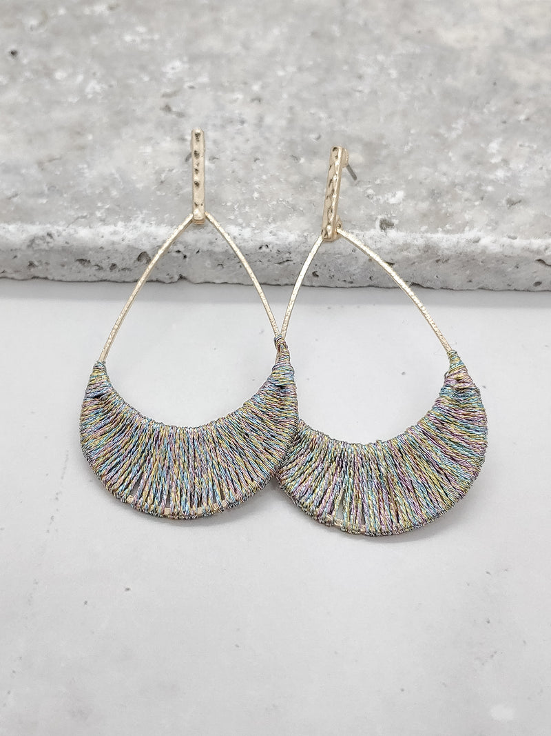 Multi Color Thread Covered Teardrop Earrings