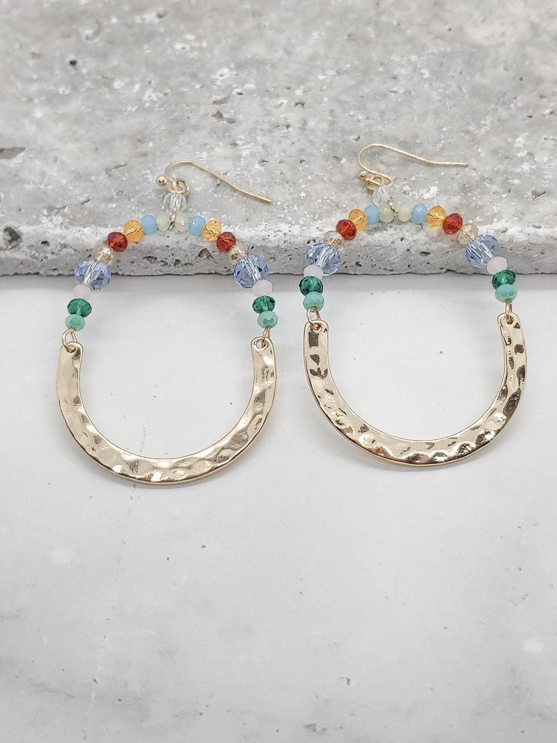 Half Hammered Gold and Half Bead Earrings