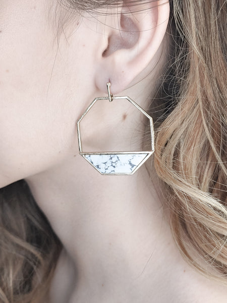 STONE IN OCTAGON EARRINGS
