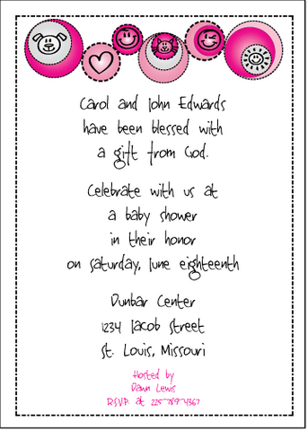 Petite Prints - Pink Baby Shower Invitation