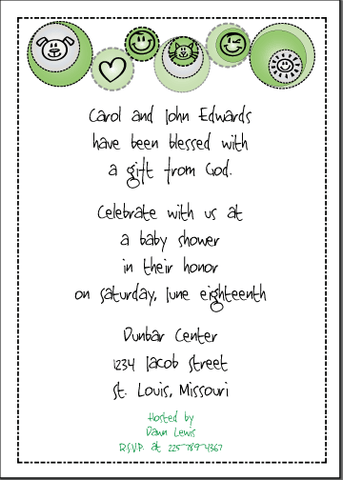 Petite Prints - Green Baby Shower Invitation