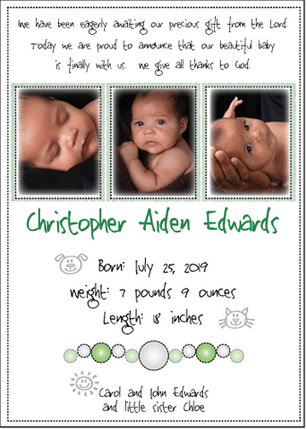 Petite Prints - Green Baby Announcement