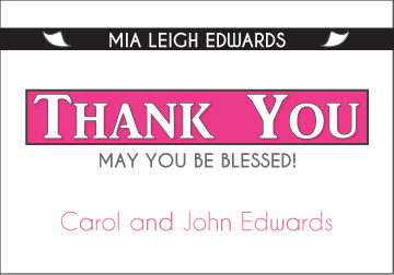 Exclusive News - Pink Thank You Card