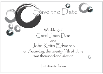 Black Circles Save the Date Card