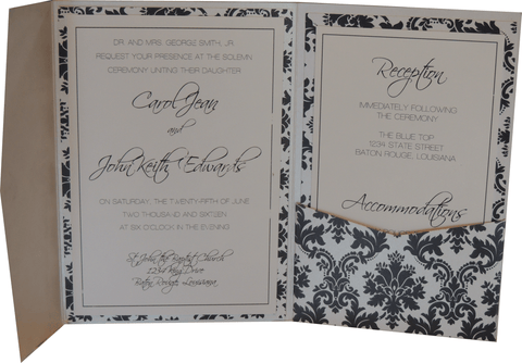 Black Brocade Pocket Invitation - Black