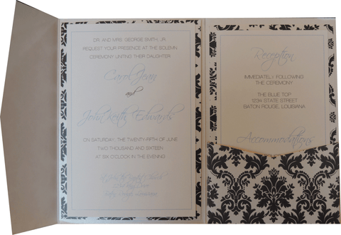 Black Brocade Pocket Invitation - Blue