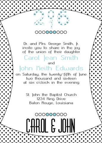 Blue Polka Dot Invitation