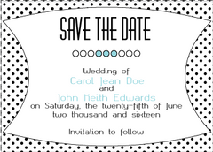 Blue Polka Dot Save the Date Card