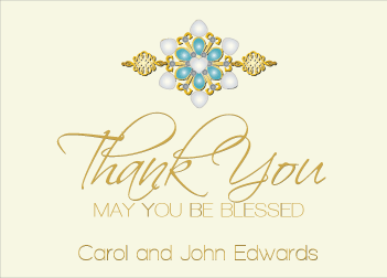 Blue Jewels II Thank You Card