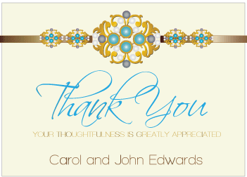 Blue Jewels III Thank You Card