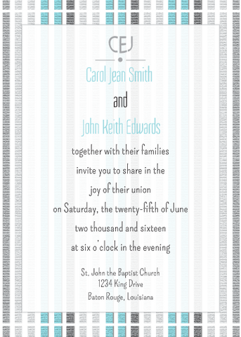 Blue Striped Invitation