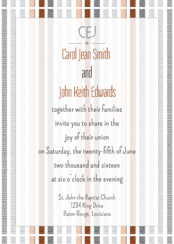 Brown Striped Invitation