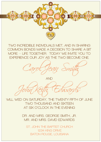 Brown and Peach Jewels III Invitation