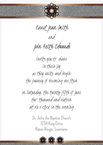 Brown and Peach Jewels Invitation