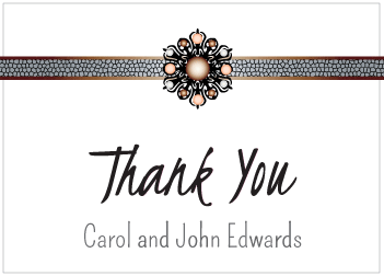 Brown and Peach Jewels Thank You Card